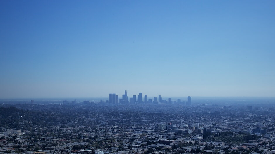 Los Angeles city skyline in blue. © Mike Wong