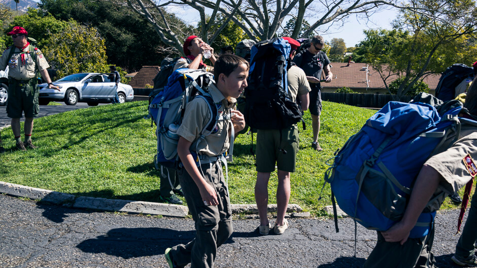 Nathan setting out on the 2 mile hike to the food bank. © Mike Wong