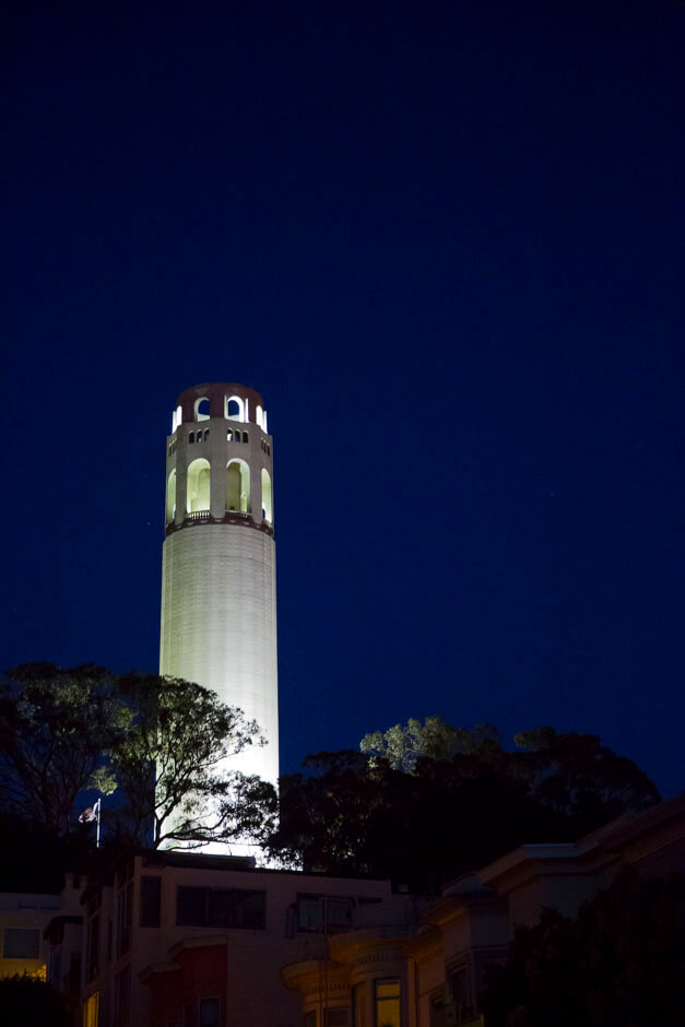 Coit Tower at night.