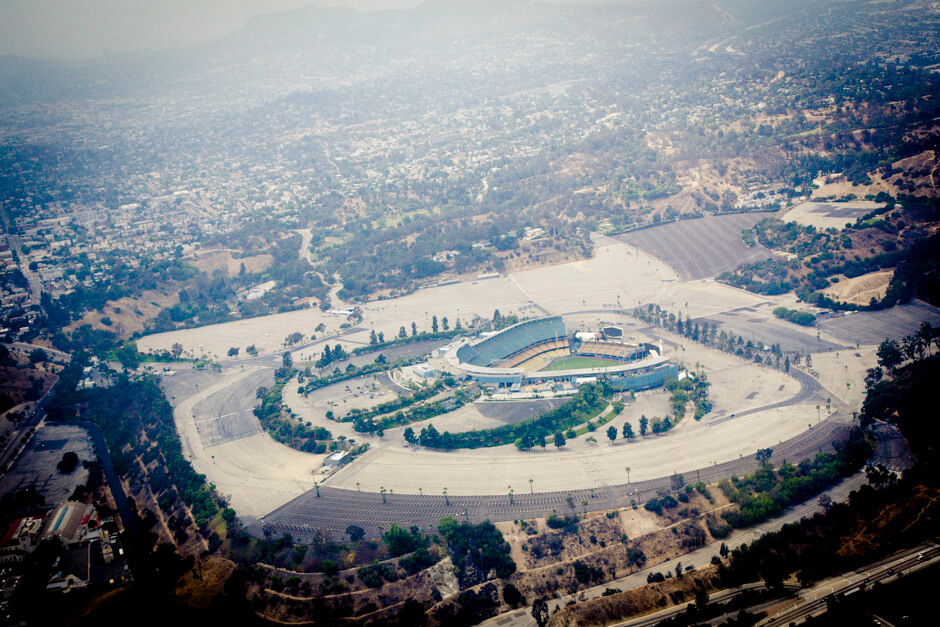 An empty Dodger Stadium. Must have been a home game.